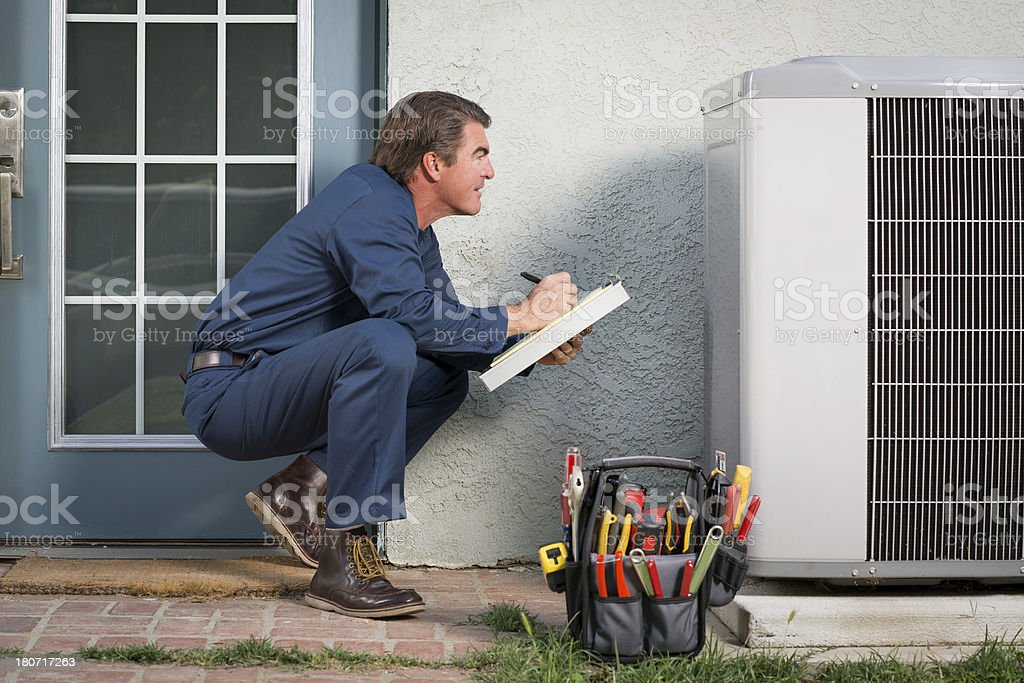 Air Conditioner Repairman stock photo