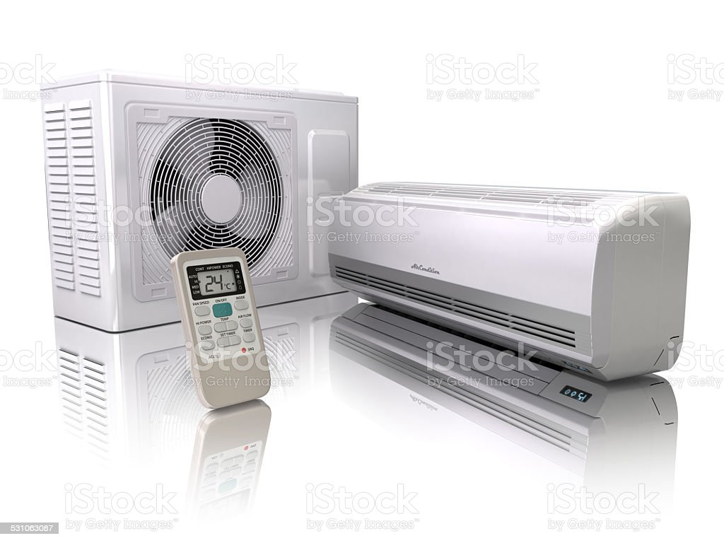 Air conditioner system isolated on white. stock photo