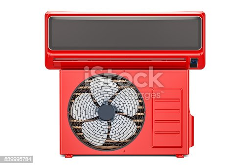 istock air conditioner system, red color. 3D rendering isolated on white background 839995784