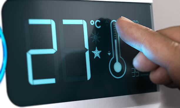 Air Conditioner Temperature Control, Degree Celsius. Home Automa - foto de stock