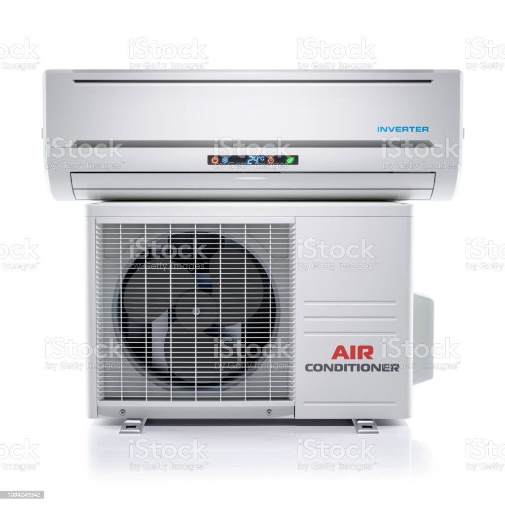 Air conditioner unit isolated on white background 3d stock photo