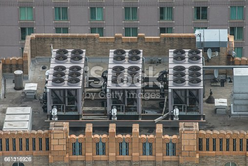 istock Air Conditioner ventilation system on building rooftop 661316926