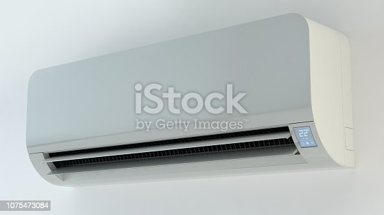 istock Air conditioner, white wall 1075473084