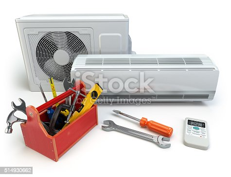 istock Air conditioner with toolbox and tools. Repair of air-conditione 514930662