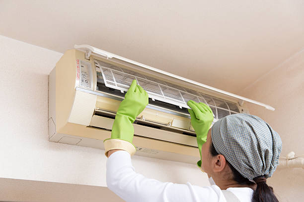 Air conditioning cleaning stock photo