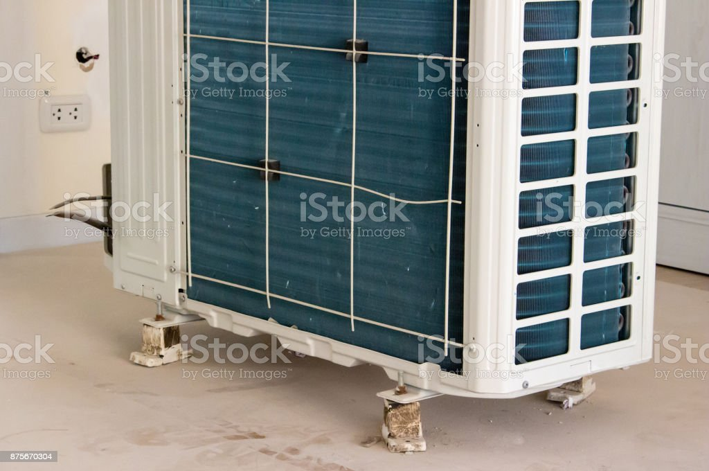 Air Conditioning condenser use for work ready stock photo