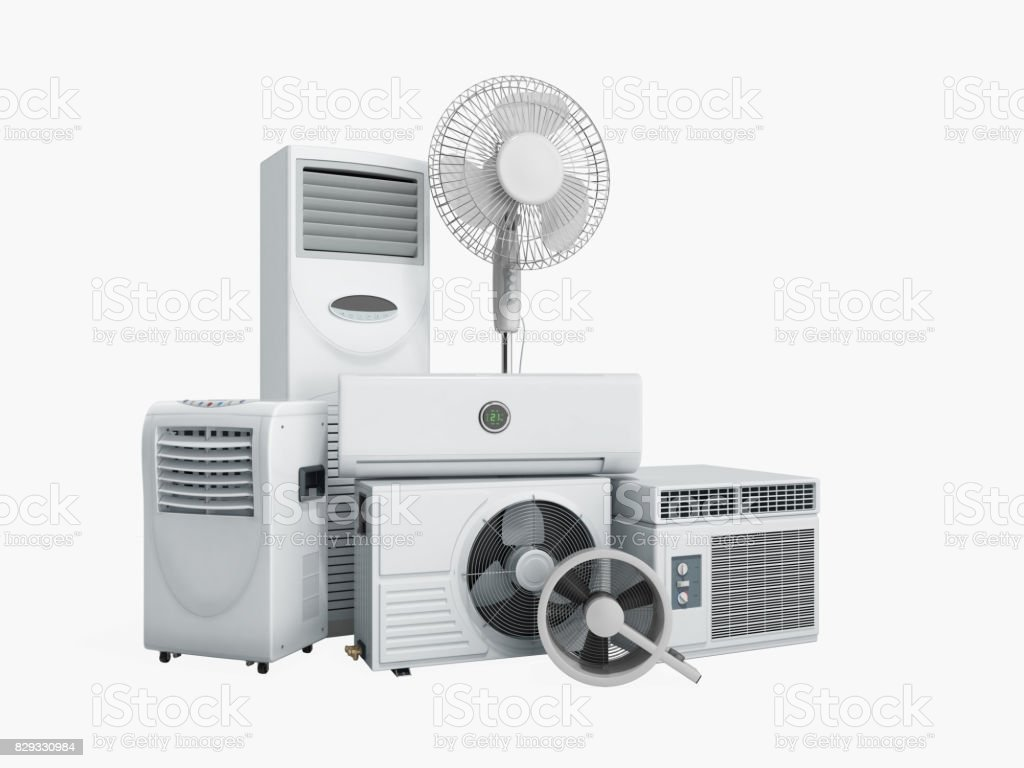 air conditioning equipment 3d rensder on white background stock photo