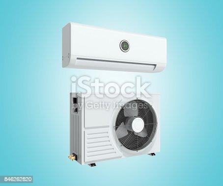 851700660 istock photo air conditioning equipment 3d rensder on white background 846262820