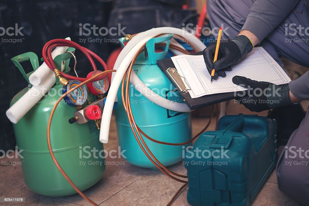 Air conditioning master entering malfunction stock photo