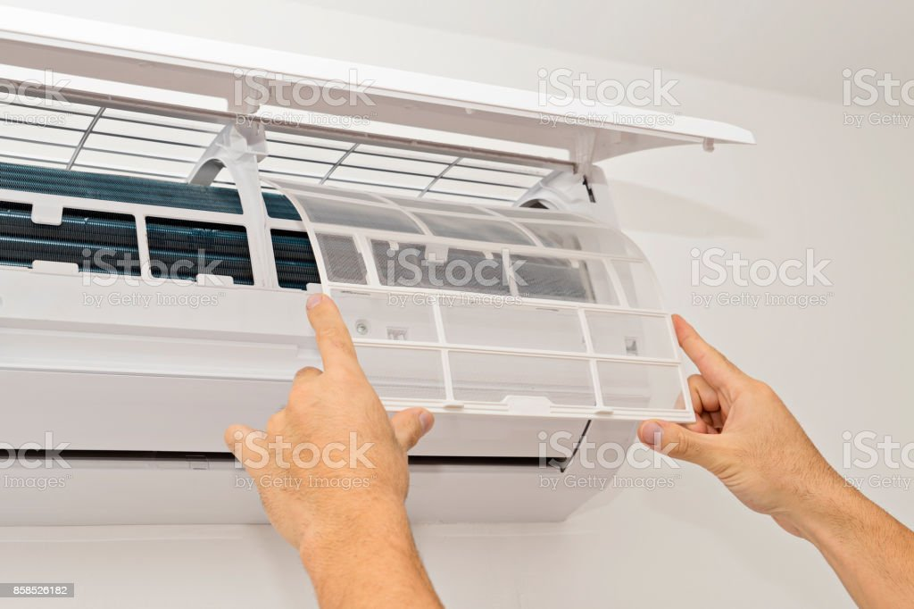 Air conditioning on a white wall - foto stock