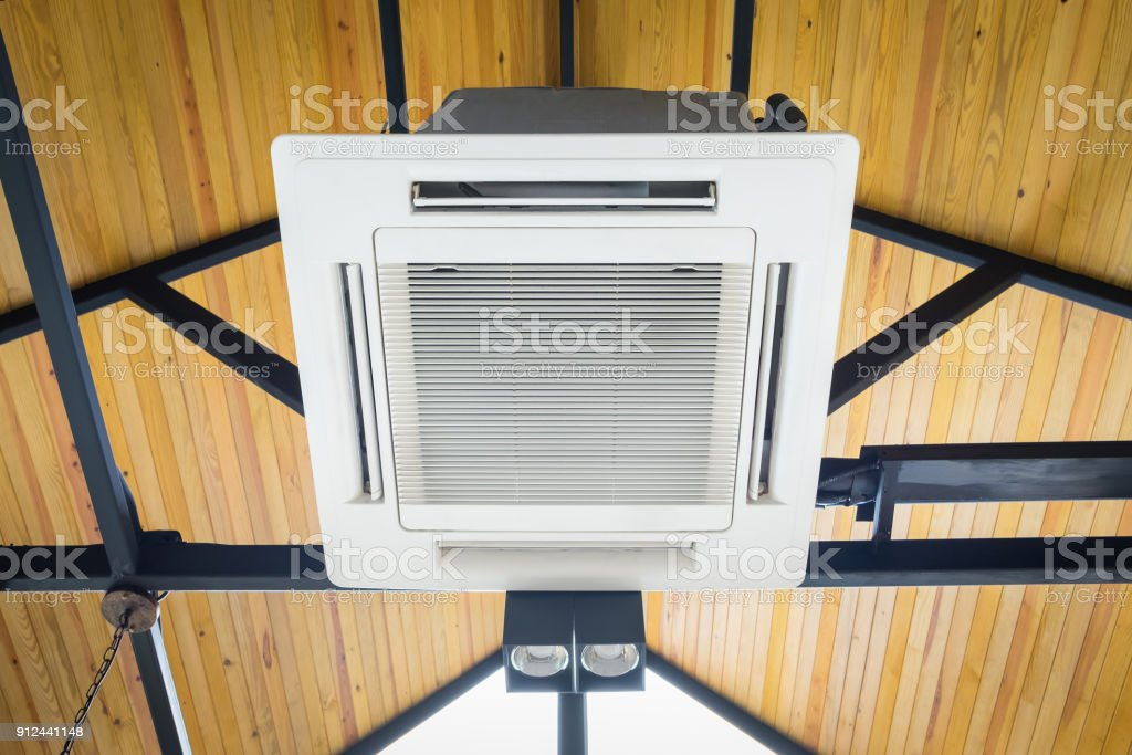 Air conditioning on the ceiling stock photo