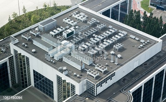 Air conditioning on top of a building - The Netherlands