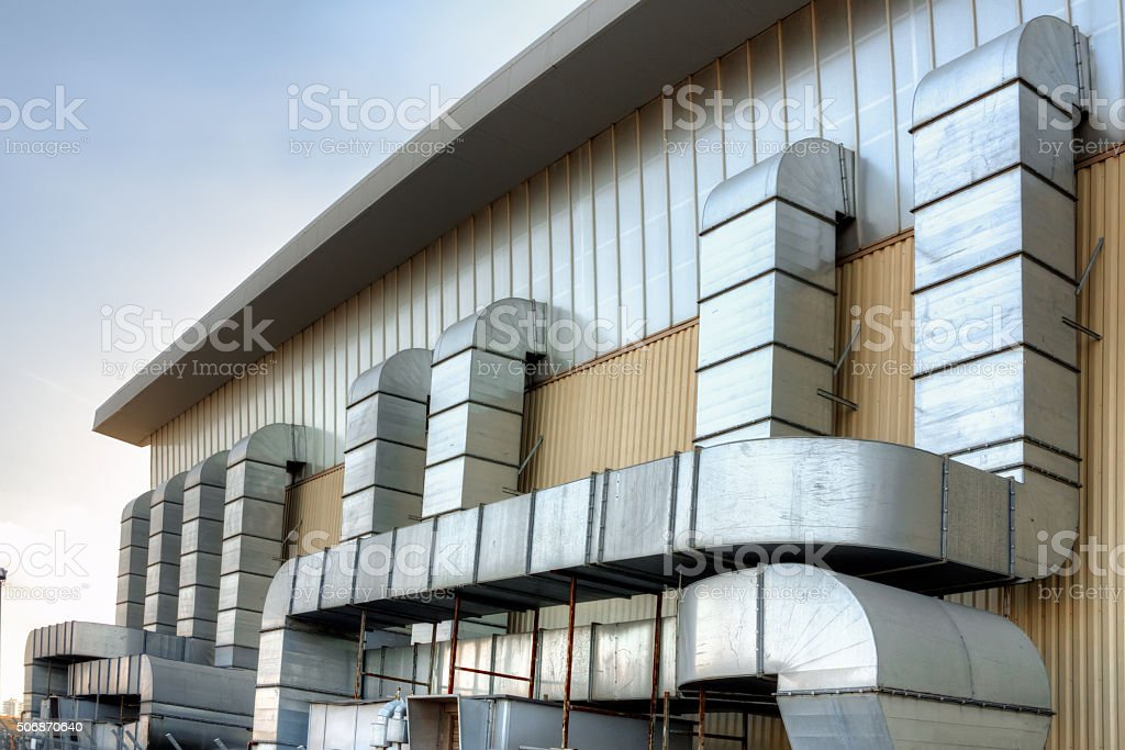 Air conditioning tubes of a building stock photo
