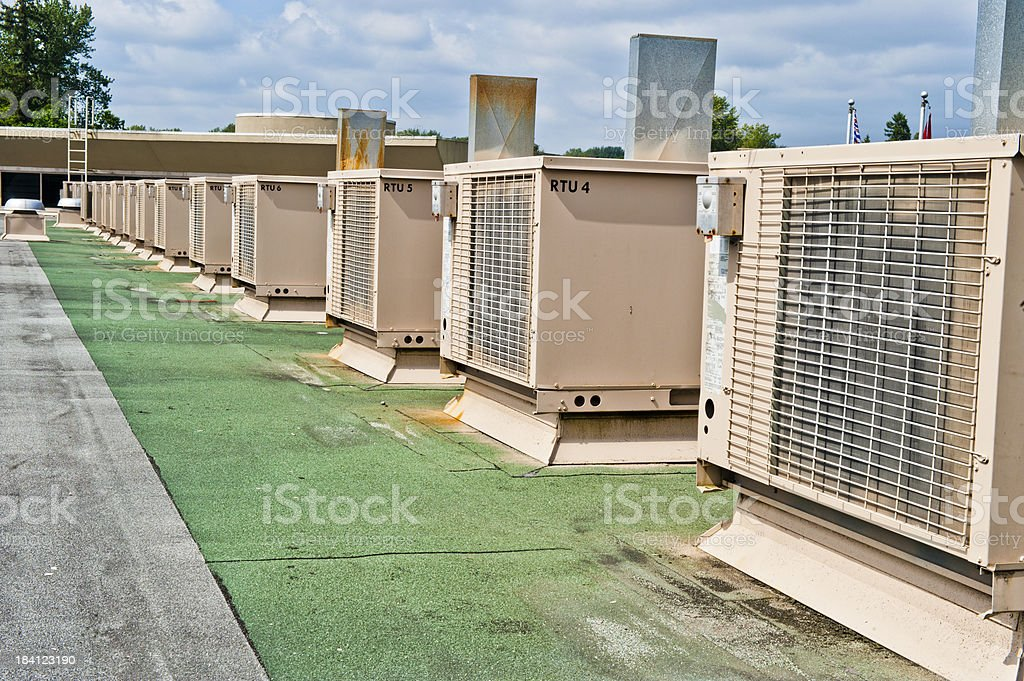 Air Conditioning Units on Rooftop stock photo