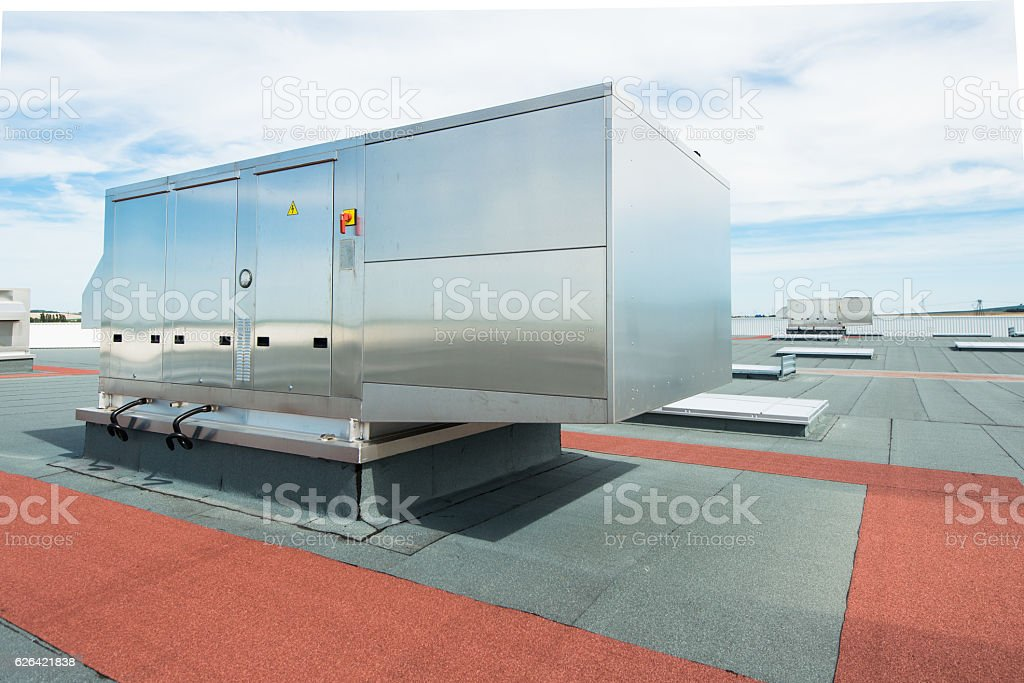 air conditioning ventilation outdoor unit roof top industrial building plant stock photo