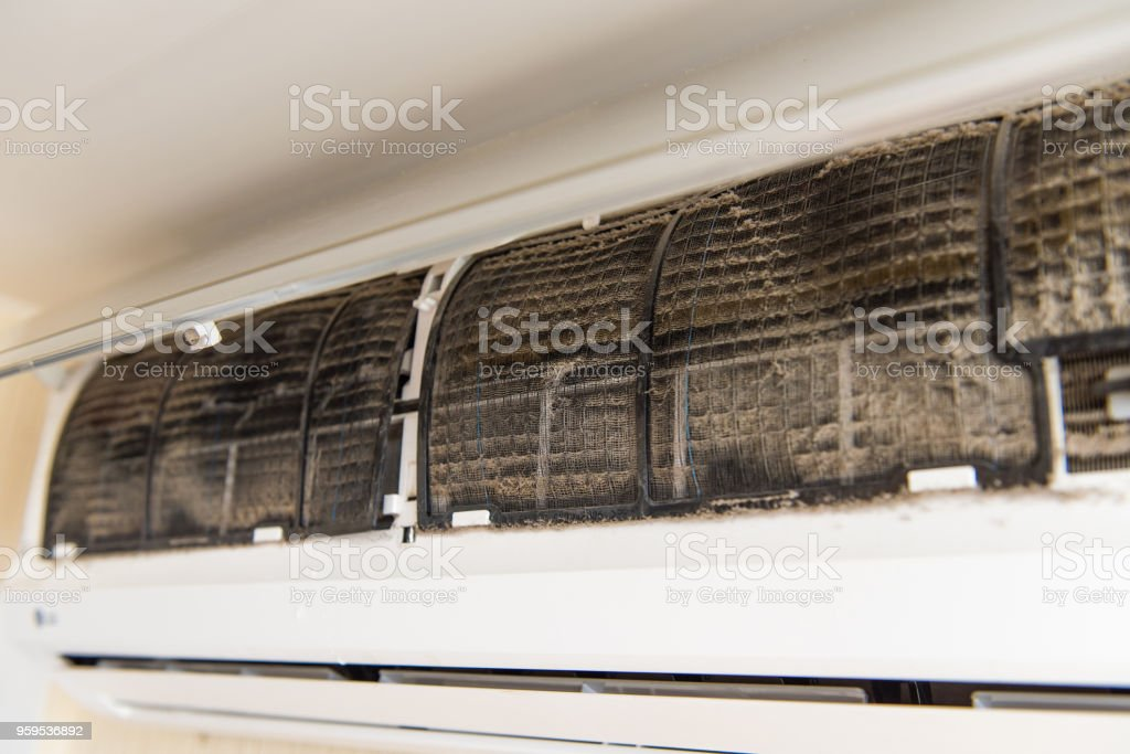 Air conditioning without front panel stock photo