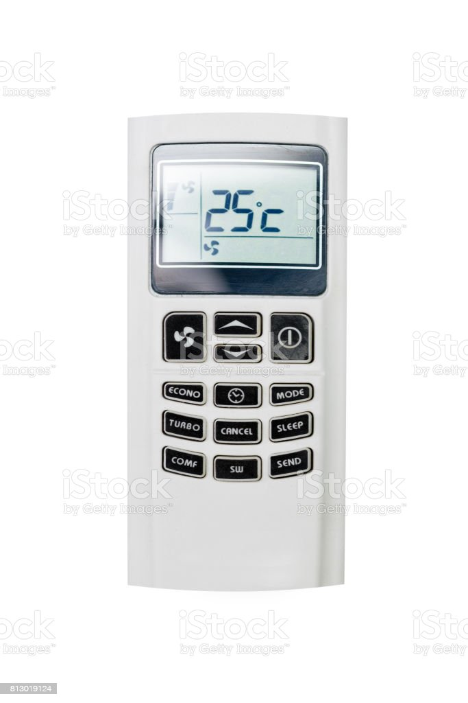 Air conditon remote isolate on white background. stock photo
