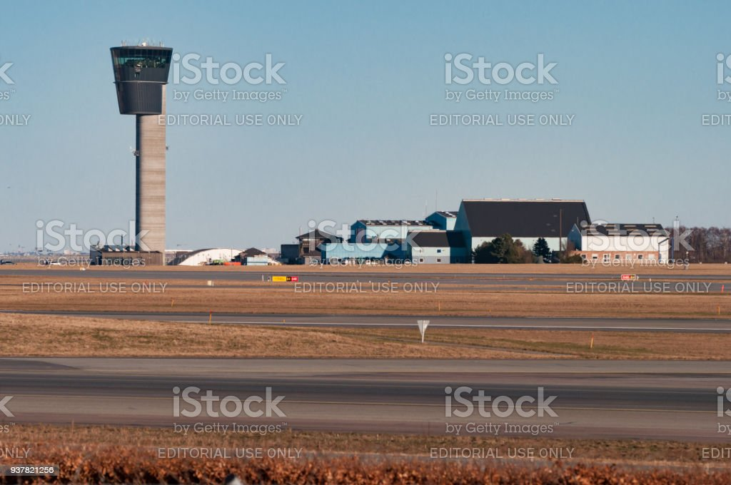 Air Control Tower And Hangars At Copenhagen Airport Stock Photo