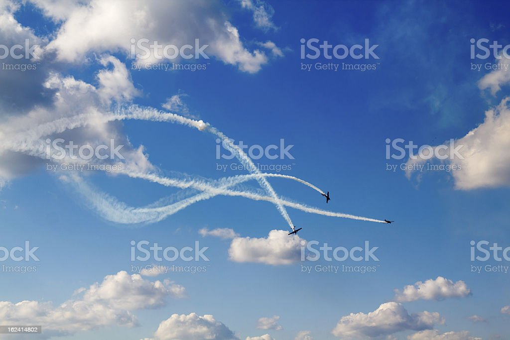 air dogfight on airshow stock photo