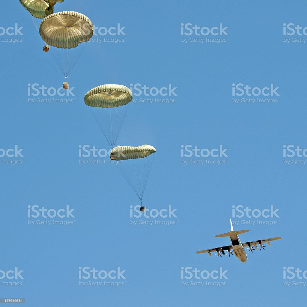 air drop from C130 airplane royalty-free stock photo