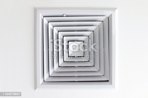 1132163701 istock photo Air Duct Ceiling white, Air duct in square shape, condition vent modern air conditioner or air vent on ceiling white, Duct for conditioning heating on a building ceiling 1154579047