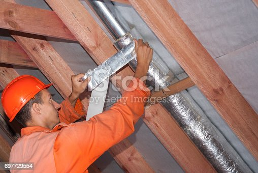 1132163701istockphoto air duct with mineral wool 697729554