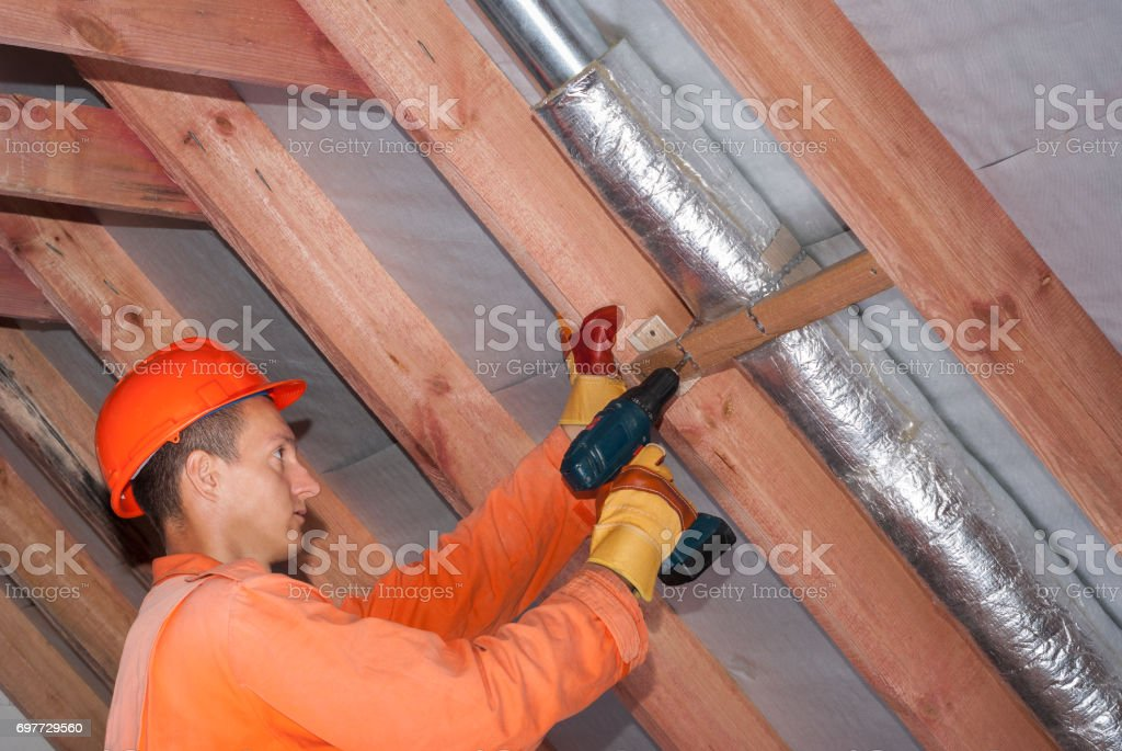 air duct with mineral wool stock photo