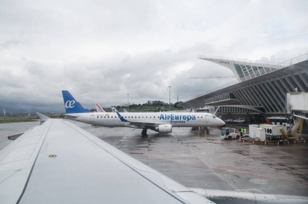 Air Europa plane at Bilbao stock photo