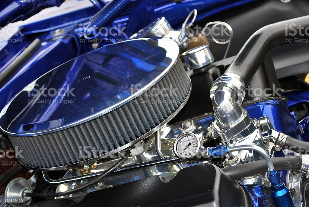 Air Filter and engine of 67 Camaro 'Blue Thunder' stock photo