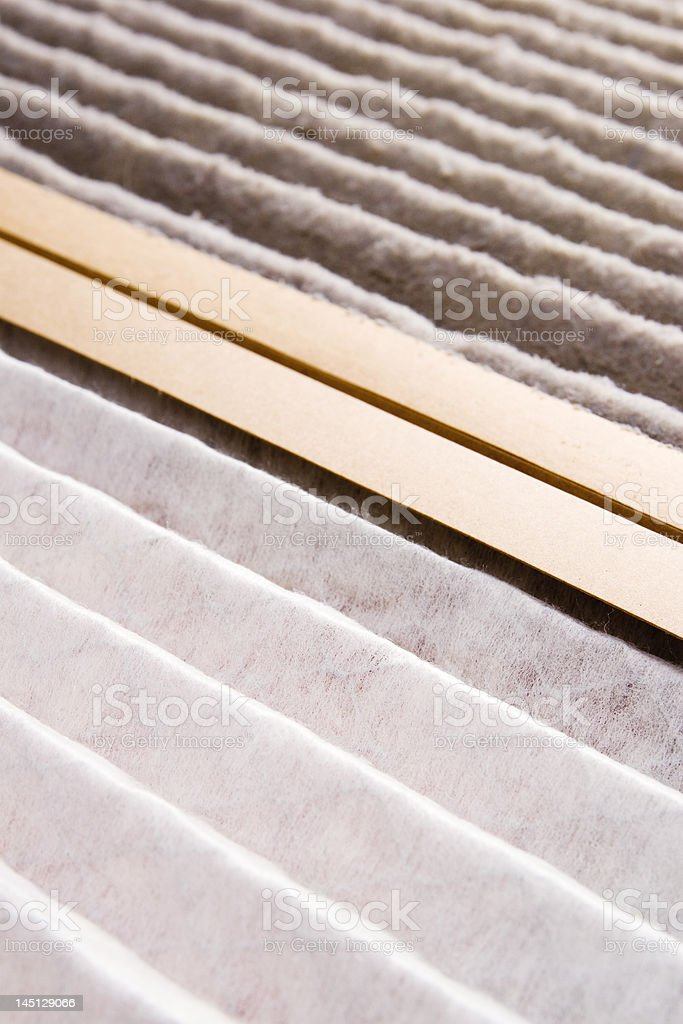 Air Filter - dirty vs. clean stock photo