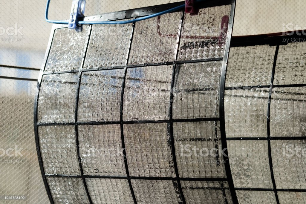Air filter walls are cleaned by cleansing. stock photo
