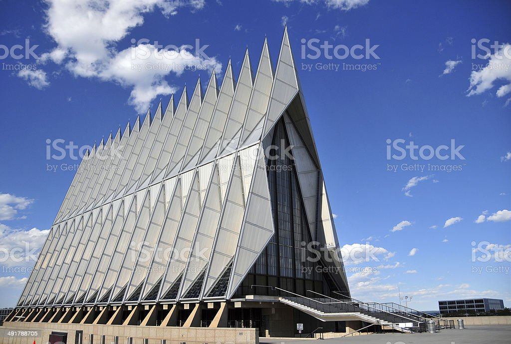 Air Force Academy Chapel, Colorado Springs Colorado Springs, Colorado, USA: United States Air Force Academy Cadet Chapel - the triangular steel structure is a frame of 100 identical tetrahedrons - the building includes Protestant, Catholic, Jewish and Buddhist areas - modernist architecture by Walter Netschof Skidmore, Owings and Merrill - photo by M.Torres Air Force Stock Photo