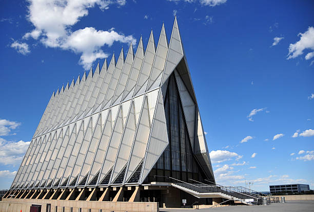 Air Force Academy Chapel, Colorado Springs Colorado Springs, Colorado, USA: United States Air Force Academy Cadet Chapel - the triangular steel structure is a frame of 100 identical tetrahedrons - the building includes Protestant, Catholic, Jewish and Buddhist areas - modernist architecture by Walter Netschof Skidmore, Owings and Merrill - photo by M.Torres air force stock pictures, royalty-free photos & images