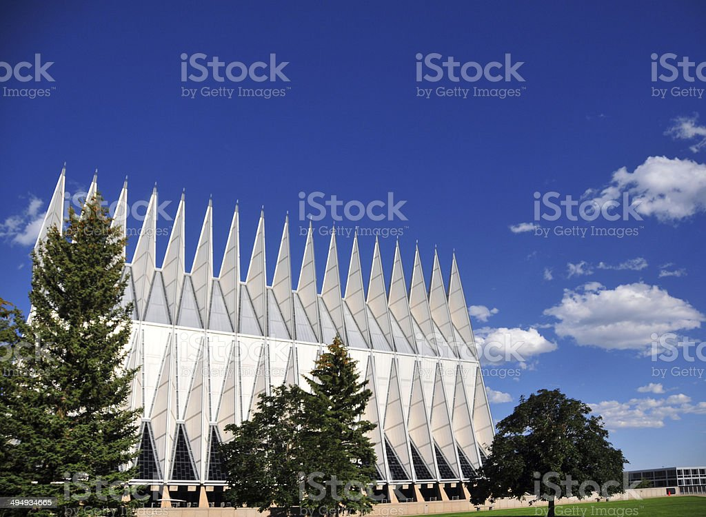 Air Force Academy Chapel, trees and sky, Colorado Springs royalty-free stock photo