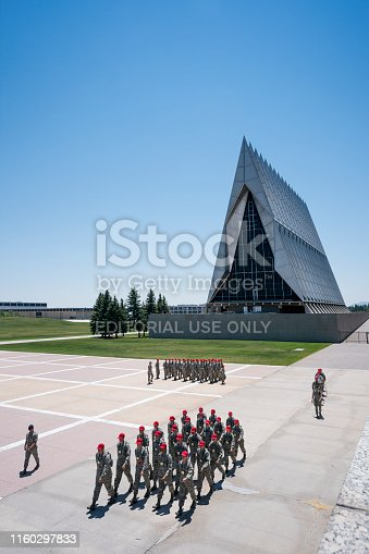 Colorado, USA - July 7, 2018: Soldiers marching in formation outside the chapel at the Air Force Academy, Colorado Springs, Colorado, USA
