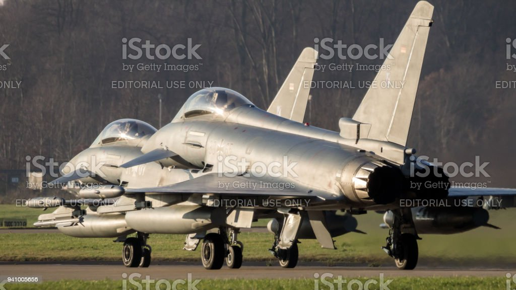 Air Force Eurofighter Typhoon fighter jets stock photo