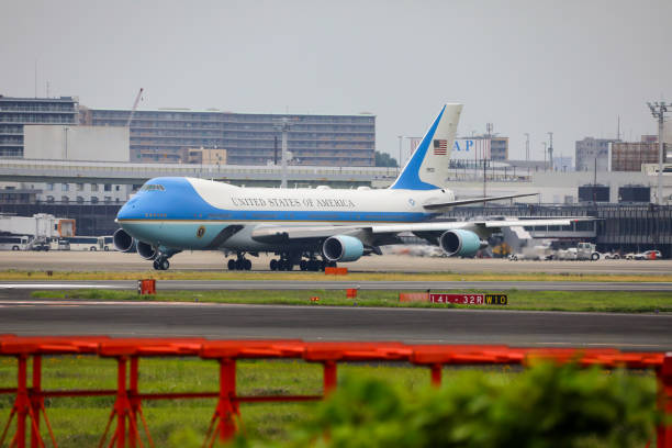 AIr Force One på Osaka Internatonal flyg plats Japan bildbanksfoto