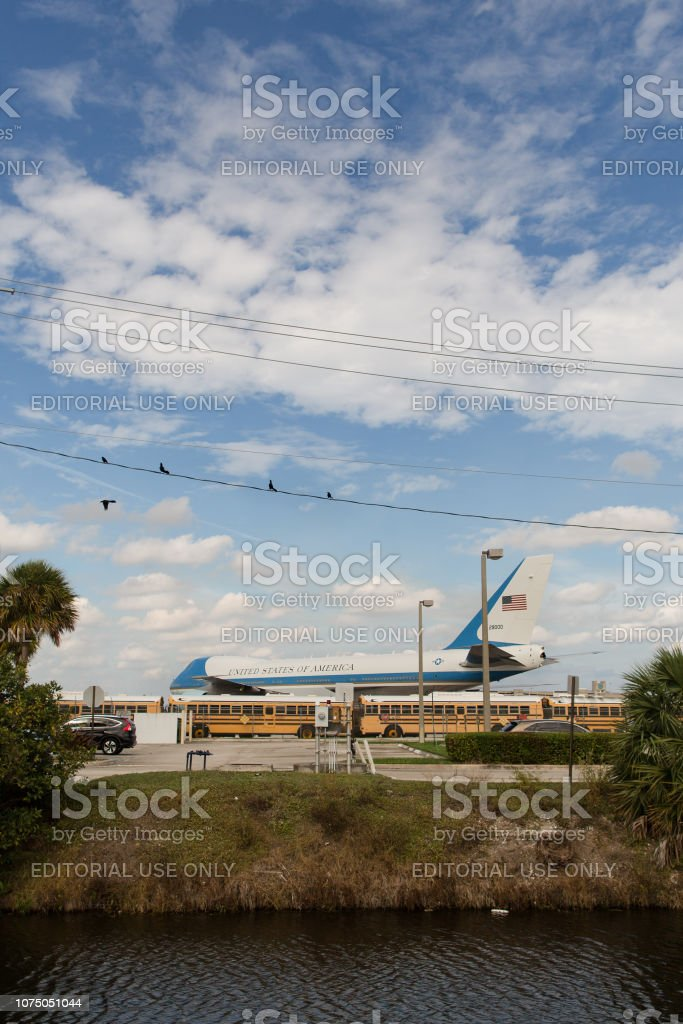 Air Force One at PBIA in West Palm Beach, FL stock photo