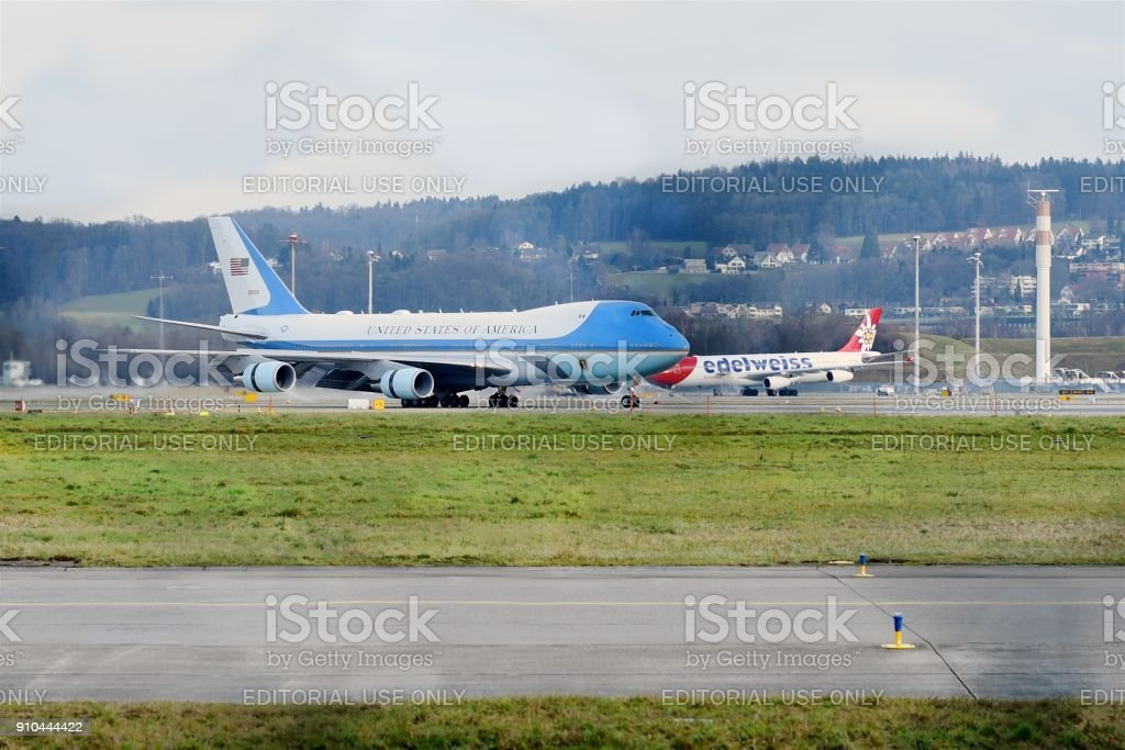 Air Force One at ZRH stock photo