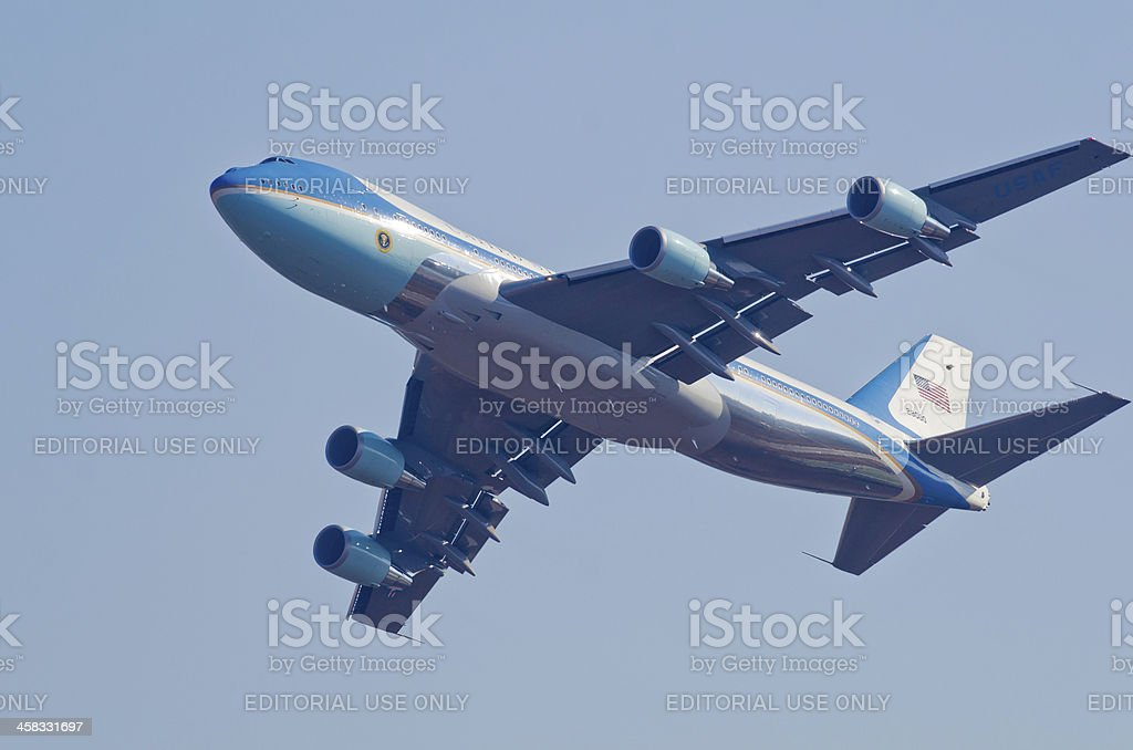 Air Force One flypast stock photo