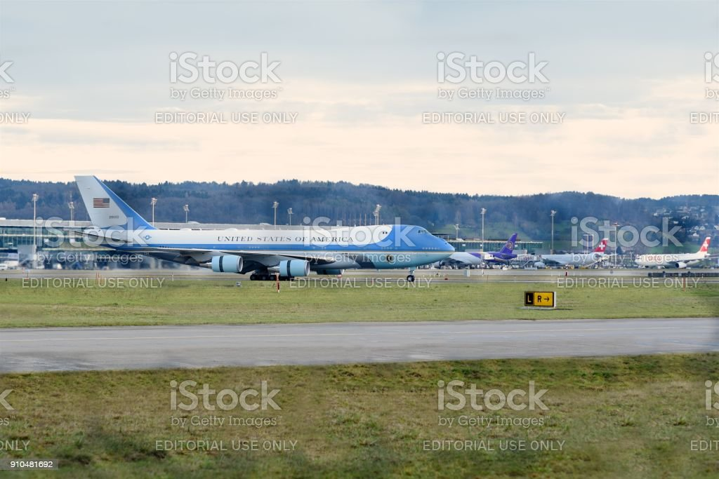 Air Force One landed at Zurich Airport stock photo