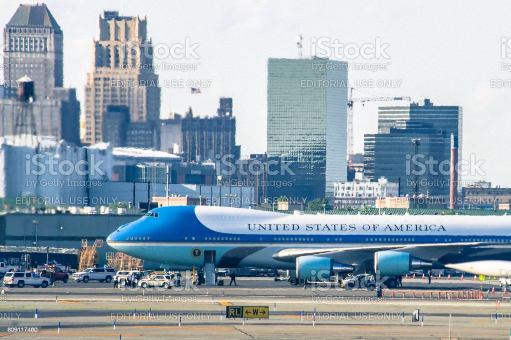 Air Force One on the runway apron at Newark stock photo