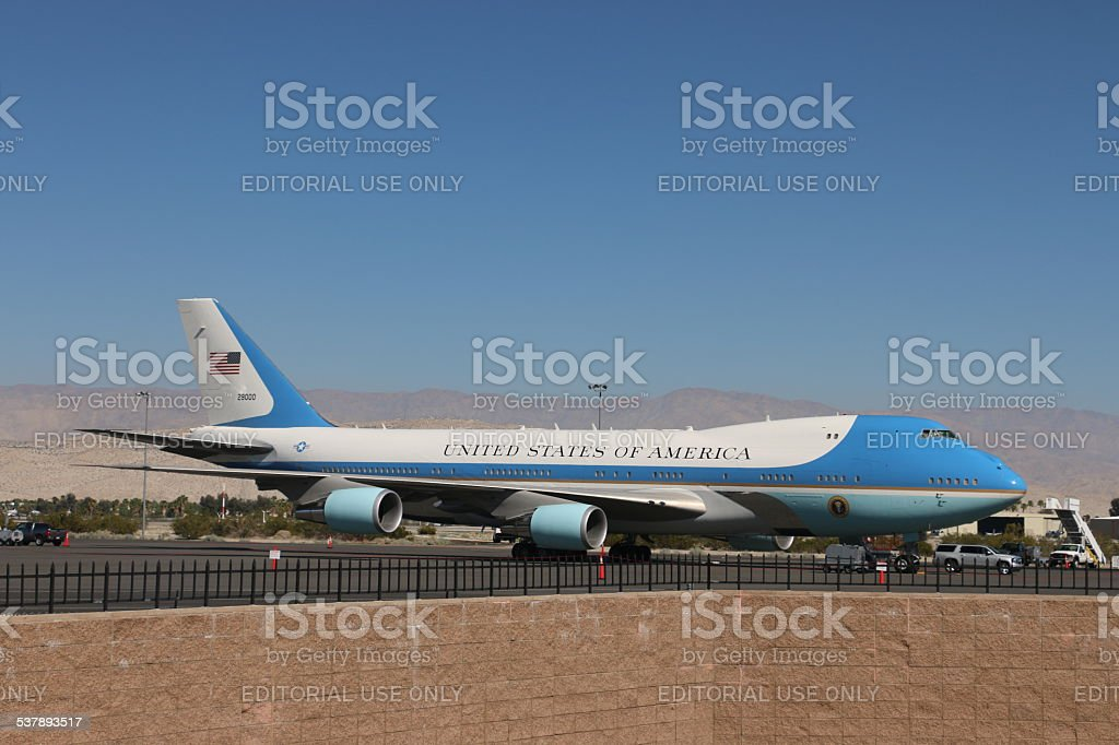 Air Force One - Parked at Palm Springs International stock photo