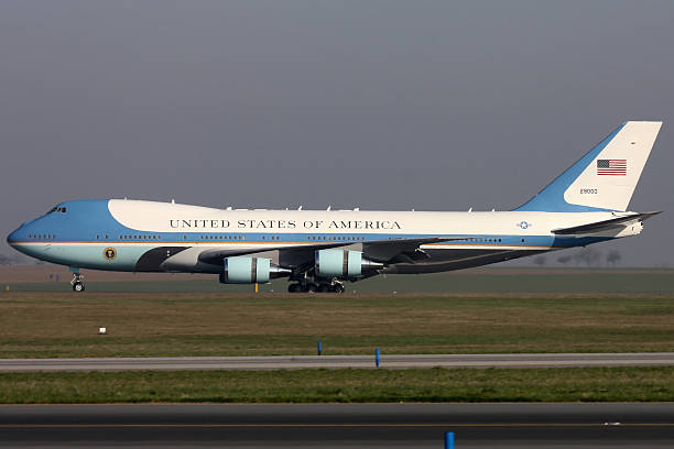 Air Force One Prague, Czech Republic  - April 8, 2010: Air Force One taxis around PRG airport. north carolina us state stock pictures, royalty-free photos & images
