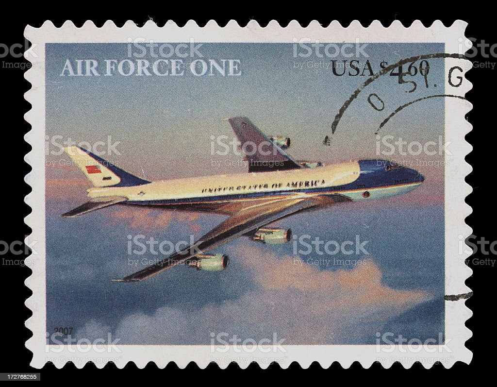 US Air Force One postage stamp stock photo