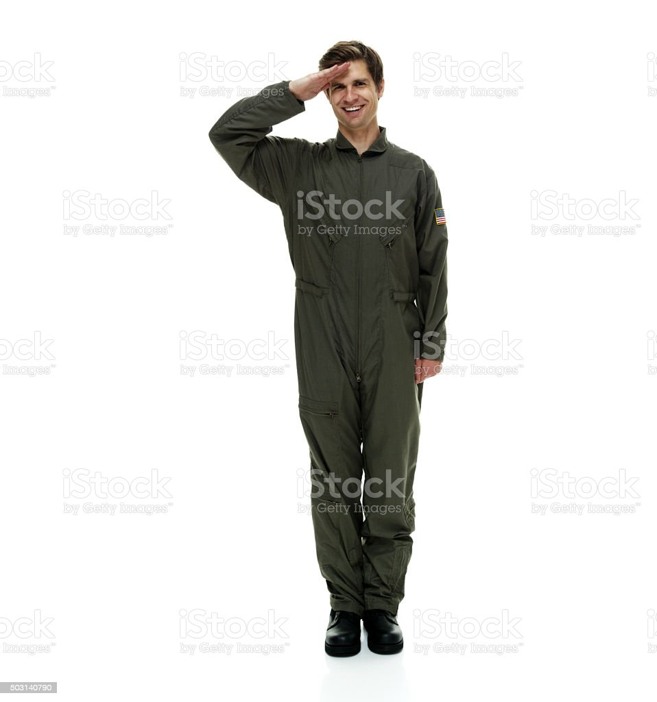 Air force pilot saluting stock photo