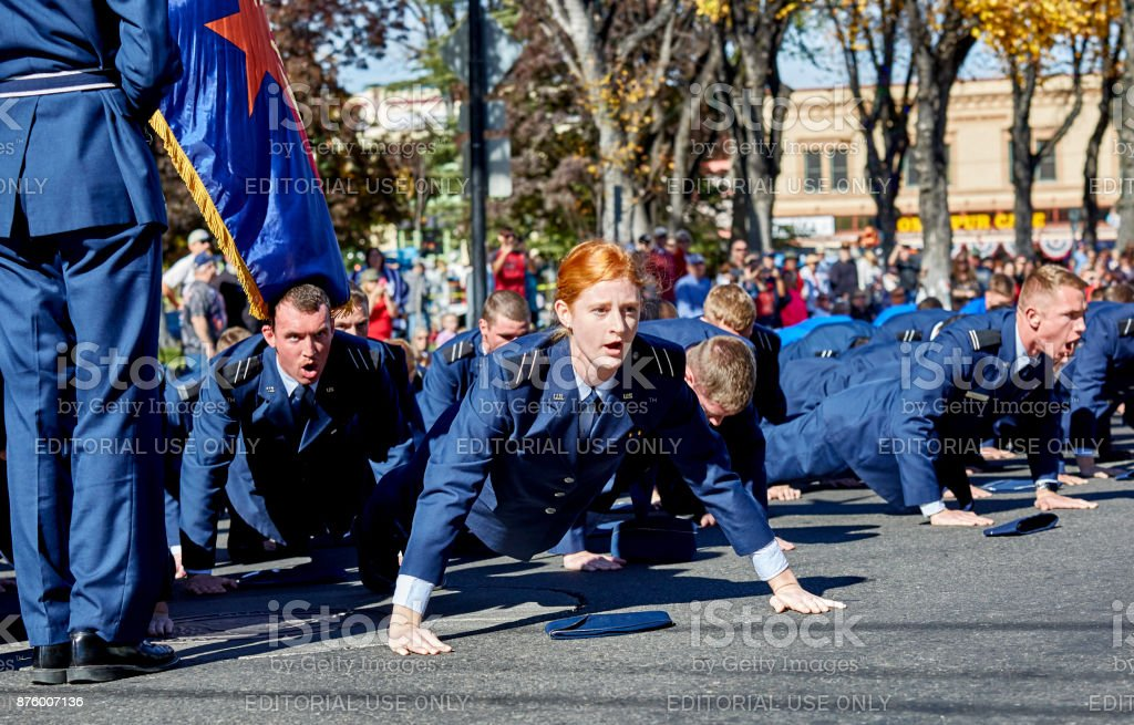 Air Force ROTC Push Ups in Veterans Day Parade stock photo