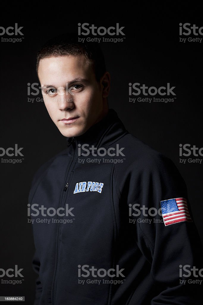Air Force Soldier Portrait, American Flag on Sleeve, Copy Space stock photo