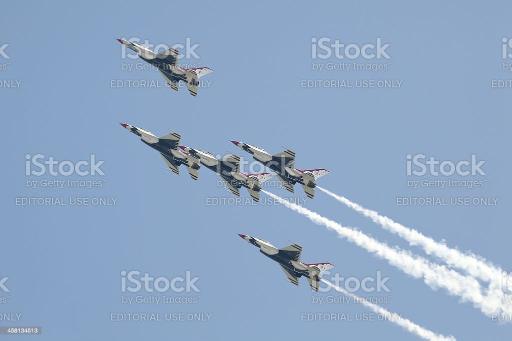 US Air Force Thunderbirds Preforming Precision Aerial Maneuvers royalty-free stock photo