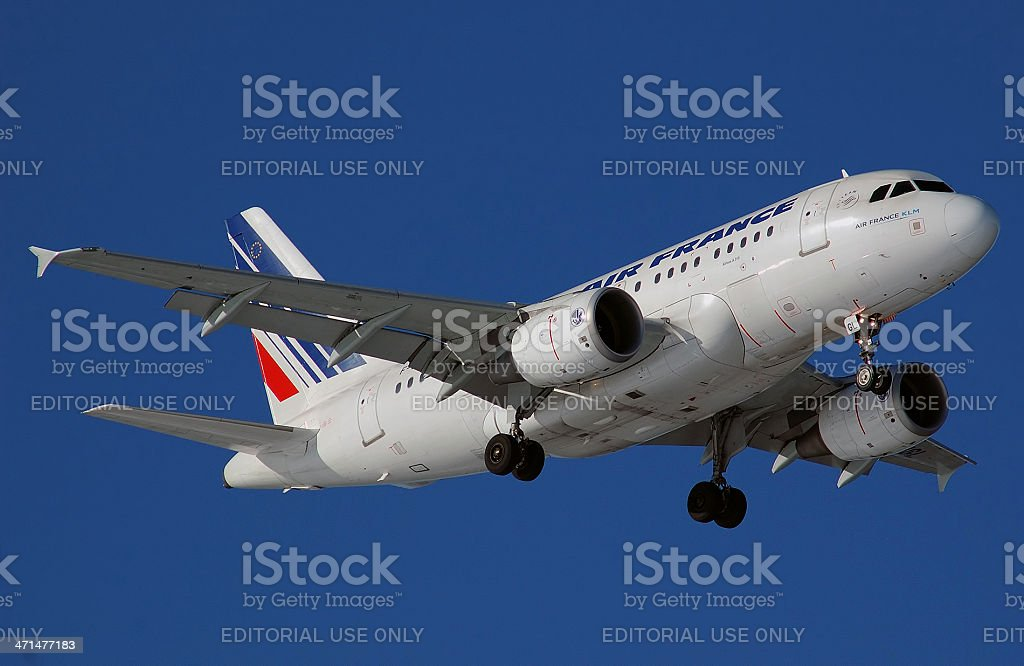 Air France Airbus A319 aircraft arrival. stock photo